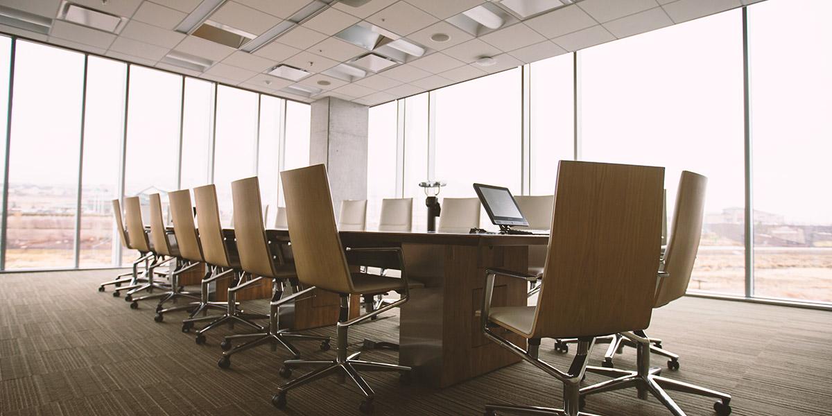 empty board room in office building