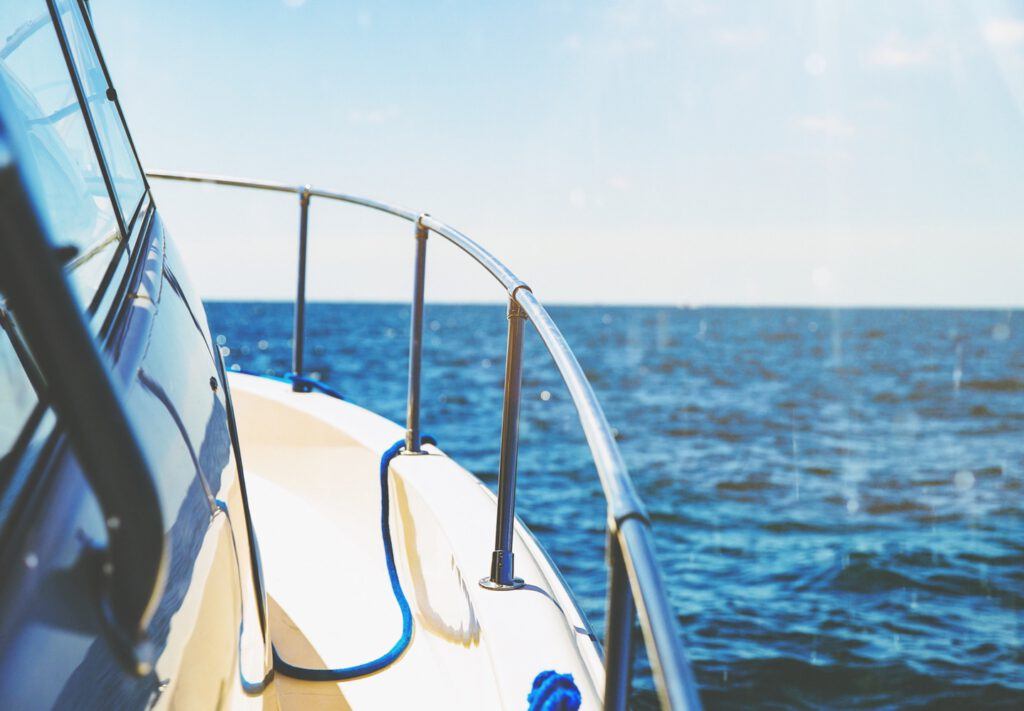 Side of boat looking toward water